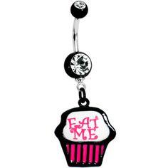 Eat Me Cupcake Dangle Belly Ring