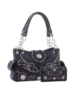 Delilah Western Concho Tote with Matching Wallet, Black