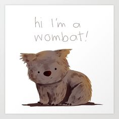 Wombat Art Print by oyyro - X-Small Baby Wombat, Cute Wombat, Animal Drawings, Cute Drawings, Animal Illustrations, Graphic Illustration, Happy Animals, Cute Animals, Australian Animals
