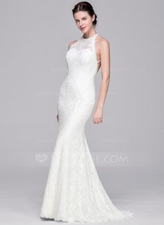 [€ 189.28] Trumpet/Mermaid Scoop Neck Sweep Train Lace Wedding Dress With Beading Sequins (002071607)