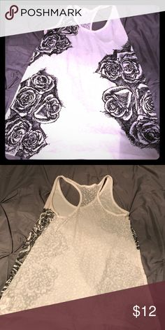 Rose tank Tattoo shirt. The back is see through PacSun Tops Tank Tops