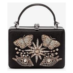 Alexander McQueen Embroidered Case Clutch featuring polyvore, women's fashion, bags, handbags, clutches, embroidered handbags, embroidered purse, embroidery purse, alexander mcqueen purse and chain strap purse
