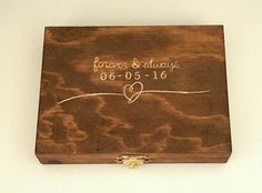 Custom hand Carved Ring Bearer Box: Initials on the inside