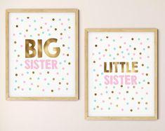 Big Sister Little Sister Printable Art Set of 2 Girls Room Bed For Girls Room, Little Girl Rooms, Girls Bedroom, Bedroom Wall, Bedroom Ideas, Kids Room, Big Sister Little Sister, Little Sisters, Art Gris