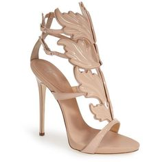 "Giuseppe Zanotti 'Cruel' Wing Sandal, 5"" heel ($1,595) ❤ liked on Polyvore featuring shoes, sandals, heels, high heels, sapatos, blush patent, giuseppe zanotti sandals, ankle strap heel sandals, ankle strap high heel sandals and heeled sandals"