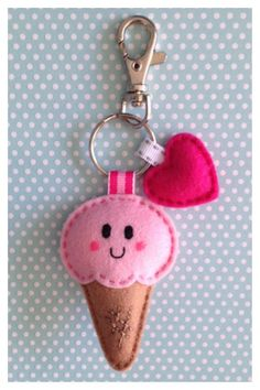 Ice cream key charm from feltIce-cream cone with heartCute keychain with owl of felt Keychain Hanger by Bambeloe,hot craft ideas to sell to make some extra money from home!keychains for the girls Cute Crafts, Felt Crafts, Fabric Crafts, Sewing Crafts, Diy And Crafts, Arts And Crafts, Felt Keychain, Keychains, Keychain Ideas