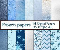 "Winter Digital Paper: ""FROZEN DIGITAL PAPER""  Frozen Digital Pattern Snowflake Digital Paper  Blue Digital Paper  Glitter Digital Paper"