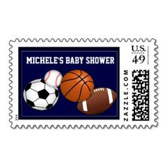 Baby boy sports custom baby shower stamp. It is really great to make each letter a special delivery! Add a unique touch to invites or cards with your own photos or text. Just click the image to learn more!
