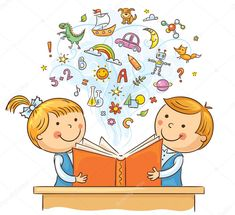 Illustration of Children reading a book and learning many new things, no gradients vector art, clipart and stock vectors.