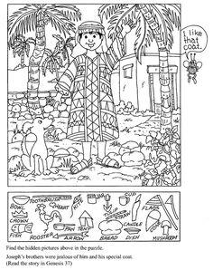 Joseph, son manteau et un tas d'objets cachés dans l'image.
