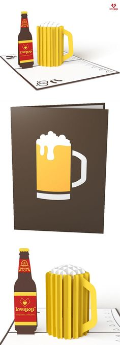 Cheers! Celebrate with a paper pop up beer mug in this fun pop up card. #celebrate