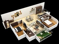 2 BHK Unit Plan Type 1 2bhk House Plan, 3d House Plans, 2 Bedroom House Plans, House Layout Plans, Dream House Plans, Modern House Plans, Small House Plans, House Layouts, Sims House Design