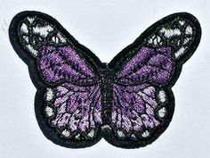 Embroidered Purple Butterfly Patch - Iron on Applique - Sew on Patch - Butterfly Patch - Sew On Patches, Iron On Patches, Purple Butterfly, Iron On Applique, Button Flowers, Button Crafts, Sewing A Button, Beautiful Butterflies, Rainbow Colors