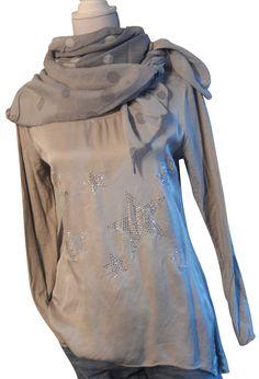 Impressionen Langarmshirt shirt grau batik Sterne Nieten Pulli Sweatshirt 38 -42