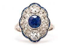 edwardian diamond & sapphire ring / trumpet & horn