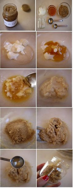 DIY Sugar Lip Scrub Recipe You'll nedd: *Pure Coconut Oil *Honey *Brown Sugar *Teaspoon *Tablespoon *Mixing Bowl * Baby Food Jar Instruction on page * http://honestlywtf.com/beauty/diy-sugar-lip-scrub/