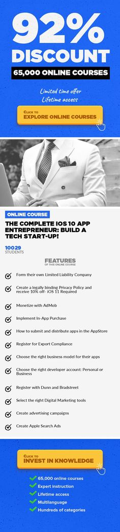The Complete iOS 10 App Entrepreneur: Build A Tech Start-Up! Mobile Apps, Development #onlinecourses #CoursesDesign #learninggames  Learn App Entrepreneurship to complement iOS 10 development skills, form a Start-up & utilise Marketing & Distribution! If you are looking to become an iOS App entrepreneur, or make your current App start-up more professional, you may love this Udemy course! Now ge...