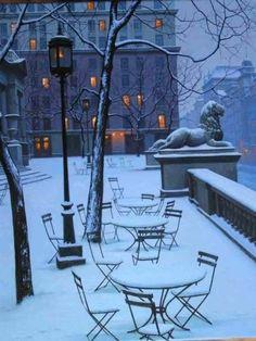 Snowy Night, Fifth Avenue, New York City