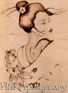 Plum Geisha Pyrography by Deven Rue