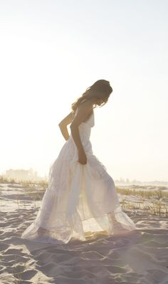 Boho beach bride in our bohemian lace wedding dress www.graceloveslace.com