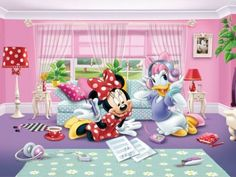Minnie & Daisy hanging out listening and singing along to their favorite tunes inside Minnie's house