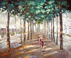 """Summer Alley - Oil Acrylic Painting On Canvas By Dmitry Spiros. 32"""" x 24"""" #Impressionism #Art"""