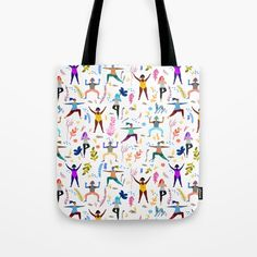 Yoga Ladies Tote Bag by chengel Beach Bags, Poplin Fabric, Womens Tote Bags, Hand Sewn, Childrens Books, Totes, Stress, Reusable Tote Bags, Stitch