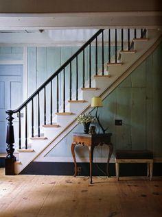 wide plank, black trim, blue walls
