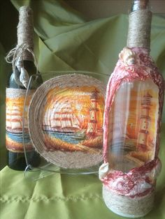 Tülay Decoupage, Altered Bottles, Tin Cans, Bottles And Jars, 3d, Garden, Glass, Beauty, Bottle Art