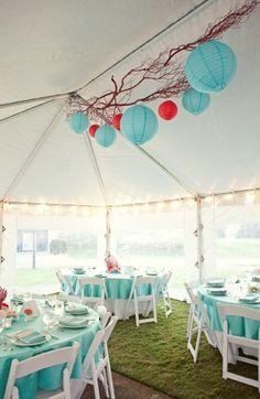 Spring, Summer, modern , aqua, blue, colors, decor, decoracion, decorations, reception, table, red, wedding, Corolla , North Carolina