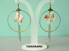 boucles d' oreille créole origami moulin a vent pivoines et perles dorées de la…