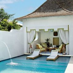 It's nice to have a shady retreat when relaxing poolside — whether it's an elegant pool house, antique ruins amidst a canopy of trees, a playful tent or a striped awning coming of…