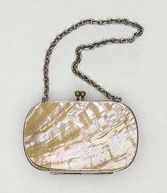 1880s Coin Purse, silk satin, steel, mother-of-pearl, LACMA Collections Online