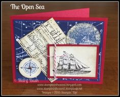 Stampin' in the Sand: The Open Sea. Stampin up masculine, man card ideas. father's day.