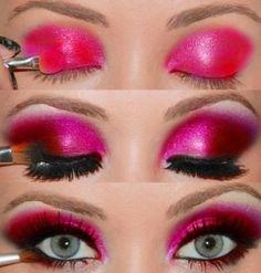 Pink Eyeshadow with Black Eyeliner