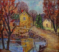 FERN ISABEL COPPEDGE (American 1888-1951) LUMBERVILLE Signed 'Fern I. Coppedge' bottom right and located 'Lumberville' on stretcher bar verso, oil on canvas 14 x 16 in. (35.6 x 40.6cm) #FreemansAuction