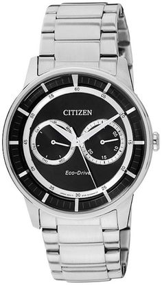 Citizen Eco-Drive BU4000-50E Mens Watch With Black Dial And Silver Stainless Steel Band