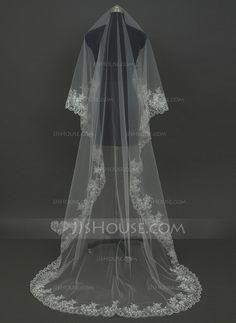 Wedding Veils - $21.69 - One-tier Chapel Bridal Veils With Lace Applique Edge (006034455) http://jjshouse.com/One-Tier-Chapel-Bridal-Veils-With-Lace-Applique-Edge-006034455-g34455?snsref=pt&utm_content=pt