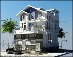 Phối cảnh kiến trúc tham khảo dành cho mẫu nhà biệt thự đẹp 3 tầng 140m2, Thiết kế nhà đẹp hiện đại