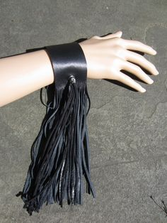 Black Leather Fringe Cuff Bracelet, Wrist Wrap Wristband SKULL Bead
