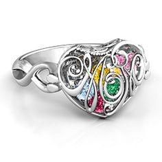 It's the perfect way to thank your mom for all of the wonderful things she does! Personalize the ring in your choice of metal and fill the cage with the heart-shaped birthstones of her loved ones. Add a special engraving along the band to create a beautiful gift she'll treasure forever. Order on jewlr.com for free shipping & a free bonus gift!