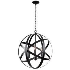 Kenroy Home Global 3-Light Black Pendant-93553BLK - The Home Depot