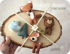 WOODLAND BABY MOBILE - baby crib mobile - forest creatures - woodland - fox - deer - bear - bird - forest - felt