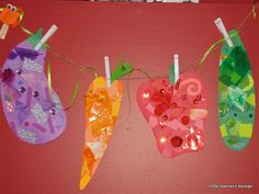 SRP 2013 - Vegetable collage craft - color matching construction paper, foam…