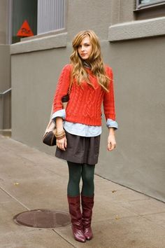 green tights, like the combination of colors.