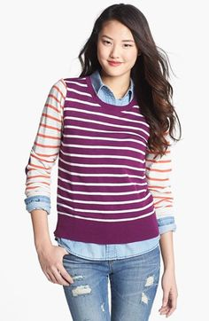 LOVE this... especially the elbow patches.  Halogen® Crewneck Sweater (Regular & Petite)   Nordstrom