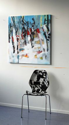 """Painting """"Wood"""" and chair collage"""
