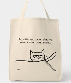 Shop Cat Wake Up Call - Funny Cat Gift for Cat Lovers Tote Bag created by FunkyChicDesigns.