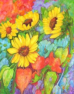Sun Flower Medley, Bouquet, Kitchen, Dining Decor  -  Original Fine Art  Watercolor Painting  by ebsq Artist  Ricky Martin - FREE SHIPPING via Etsy