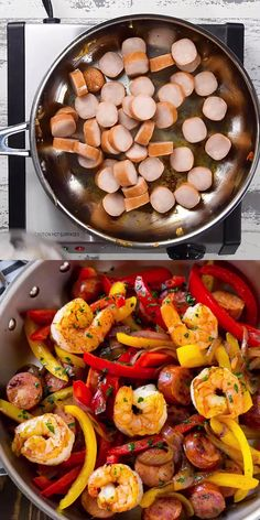 CAJUN SHRIMP AND SAUSAGE SKILLET This easy Cajun Shrimp recipe is a zesty one-pan meal that's ready in just 20 minutes! Loaded with bursting cajun flavor, shrimps, sausage, and bell peppers. A perfect low carb meal for a keto-friendly diet. Shrimp Recipes For Dinner, Seafood Recipes, Chicken Recipes, Sausage And Shrimp Recipes, Cajun Shrimp Recipes, Cajun Sausage, Cajun Shrimp Pasta, Chicken Meal Prep, Keto Chicken
